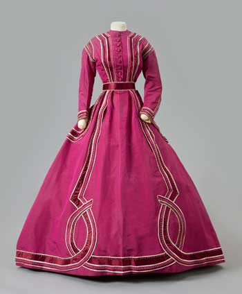 Raspberry Dress with White Beads, 1867