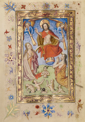 The Last Judgment, from a book of hours (text in Latin)
