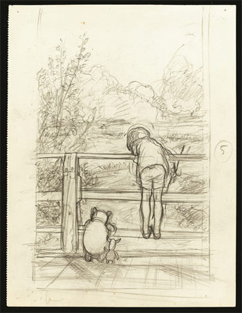 For a long time they looked at the river beneath them, from The House at Pooh Corner, chapter 6, 1928