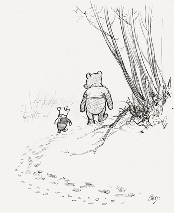 Pooh and Piglet walking outside together. Pooh and Piglet go hunting, from Winnie-the-Pooh, chapter 3