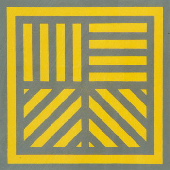 Bands of Lines in Four Directions (Gray on Colors): Yellow, Black, 1995