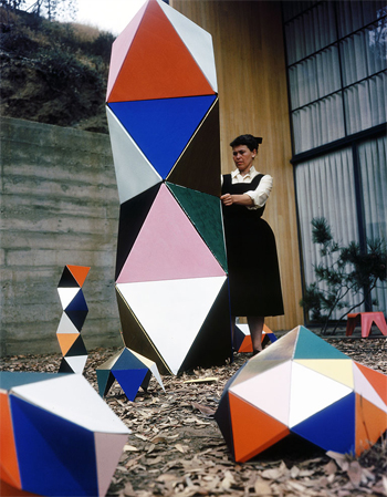 Ray Eames with the first prototype of The Toy, 1950