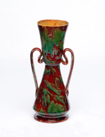 Red Green Pot with Handles